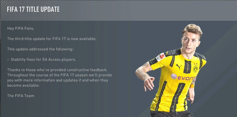 FIFA 17 Update 3 Patch 1.04 Version released for XB1
