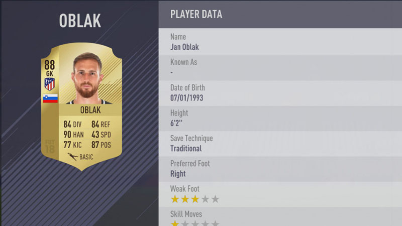 FIFA 18 Top 5 Players in Laliga Santander Jan Oblak