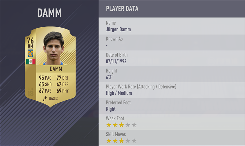 TOP 20 FASTEST PLAYERS 6. Jürgen Damm (95) RM