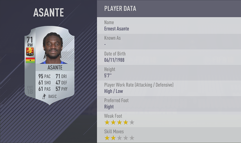 TOP 20 FASTEST PLAYERS 5. Ernest Asante (95) RW